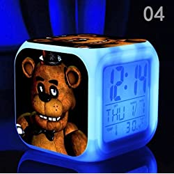 Five Nights at Freddy's Cartoon Games Freddy's Bear Action Figure 7 Colors Change Digital Alarm LED Clock Cartoon Night Colorful Toys for Kids (Style 4)