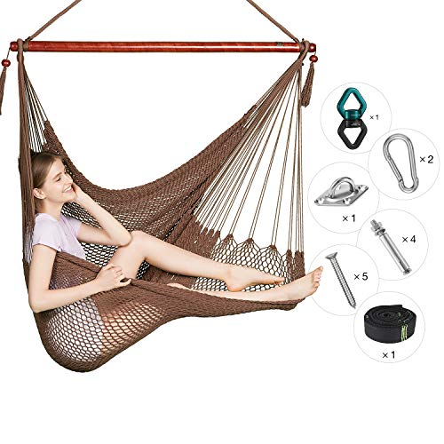 Greenstell Large Caribbean Hammock Hanging Chair with Swing Swivel and Hanging Kits,Frictionless 360 Rotation,Swing Chair 100 Soft-Spun Polyester,for Indoor,Outdoor,Home,Patio,Garden 48 Inch Mocha