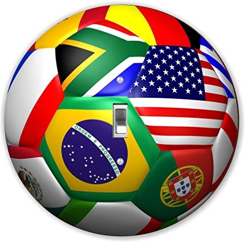Rikki Knight RND-LSPS-64 Soccer Ball World Flag Round - Single Toggle Light Switch Plate by Rikki Knight