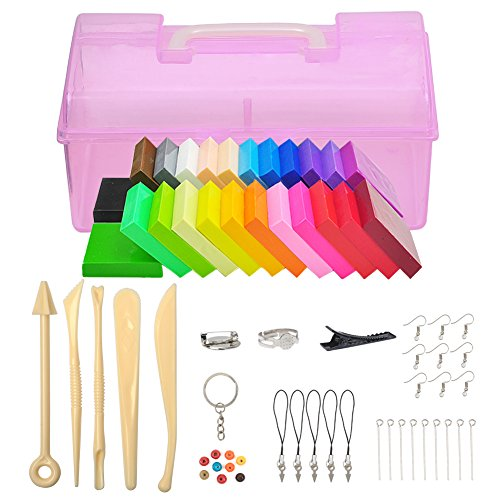 Polymer Clay 24 Colors, Jspoir Melodiz Oven Bake Polymer Clay DIY Polymer Clay DIY Clay Safe and Nontoxic by Jspoir Melodiz