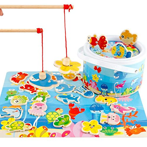 Fish Wooden Puzzle (Zhisheng You Basic Educational Development Magnetic Wooden Fishing Puzzle Game with 30 Ocean Animal Magnets and 2 Pole Educational Gift Toys for Kid Children Baby Toddler Boy Girl)