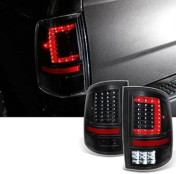 For DS//DJ//D2 v2 2009-2018 Dodge Ram Pickup Truck Black Tail Lights Rear Brake Lamps Left+Right Pair C-Shape LED Light Lube