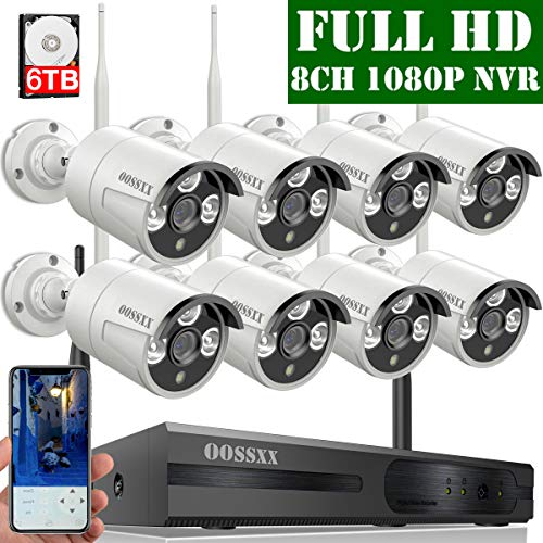 2019 Update OOSSXX 8-Channel HD 1080P Wireless Security Camera System,8Pcs 1080P 2.0 Megapixel Wireless Indoor Outdoor IR Bullet IP Cameras,P2P,App, HDMI Cord 6TB HDD Pre-Install