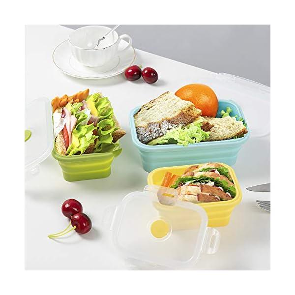 51ZTZFfpPWL Czemo Faltbare Frischhaltedosen Silikon Zusammenklappbaren Container, Bento Lunchboxen, Faltbare Brotbox, Camping…