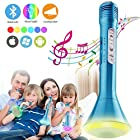 Kids Microphone, Wireless Karaoke Microphone with Speaker, Portable Bluetooth Microphone Child Karaoke Mic Machine for Kids Singing Party Music Playing, Support Android Smartphone PC iPad (Blue)