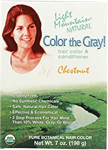 Light Mountain Natural Color The Gray! Hair Color & Conditioner, Chestnut, 7 oz (197 g)