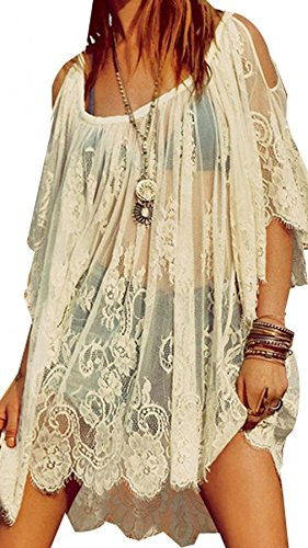 Amoin Hippie Boho People Embroidery Floral Lace Crochet Mini Party DressTops [A6374],White,Medium