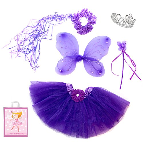 [5 Piece Sparkle Fairy Princess Costume Set PLUS GIFT BAG (Purple)] (5 Girl Halloween Costumes)