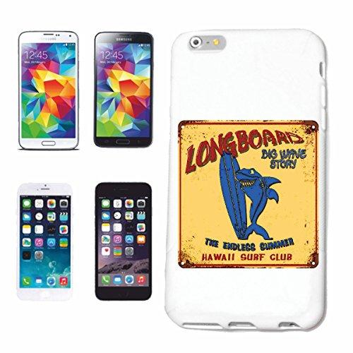 "cas de téléphone iPhone 7 ""LONGBOARD BIG WAVE STORY HAWAII SURF CLUB SURF BEACH SURFBOARDS LONGBOARD ONDES SURF Beginner Shop"" Hard Case Cover Téléphone Covers Smart Cover pour Apple iPhone en blanc"
