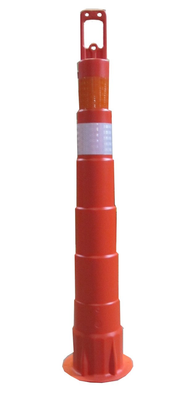 Work Area Protection CC42 Linear Low Density Polyethylene Channelizer Traffic Cone with High Intensity Reflective Sheeting, 6'' Diameter x 42'' Height