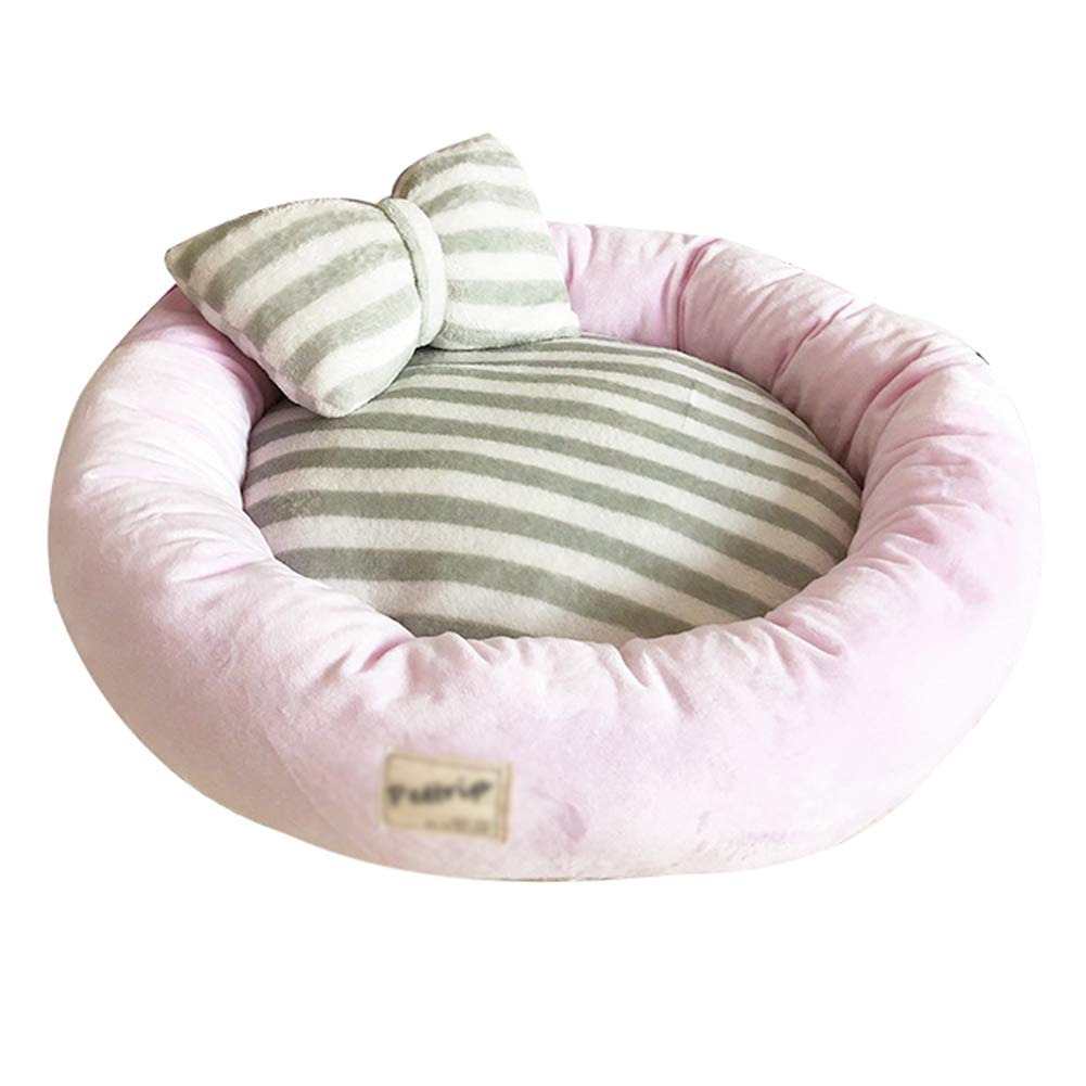 Pet Dog Warm Soft Striped Bowknot Pillow Sofa Bed Cat Puppy Round Shape Sleeping Mat Bed Nest Cave (Diameter:65cm/25.5'', Pink) by Saymequeen