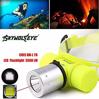 Headlight,Lisingtool 3500Lm CREE T6 LED Waterproof Underwater Diving Head light Lamp Flashlight Torch