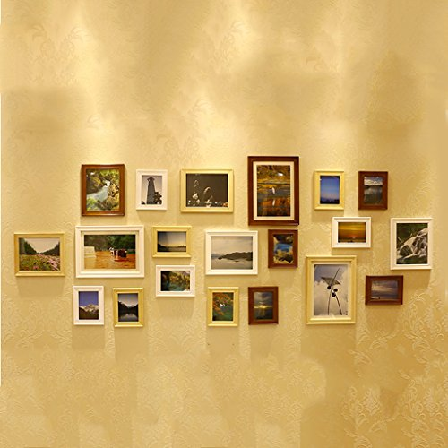Photo frame wall European photo wall creative combination of living room 20 box American retro photo frame wall Photo Wall ( Color : Tricolor mix and match ) by Photo Frame Set