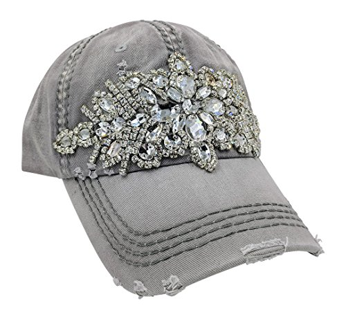 Baseball Olive Hat (Olive & Pique Women's Horizontal Bling Distressed Baseball Cap (Light Grey))