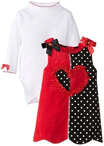 Bonnie Baby Baby-Girls Newborn Colorblock Corduroy Heart Jumper, Red, 6-9 Months