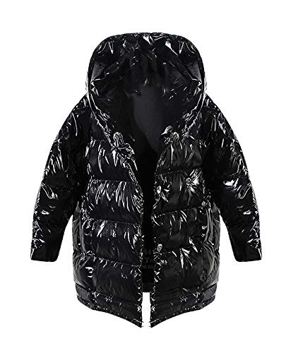 (Wsirmet Women's Metallic Loose Fit Hooded Cotton Double-Breasted Quilted Thickened Down Jacket Puffer Coat One Size)