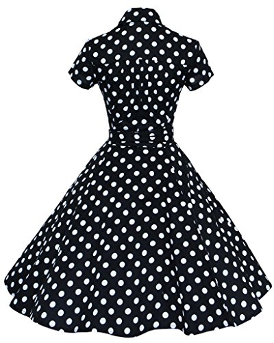 Mochoose - Vestido - para mujer negro (lunares)