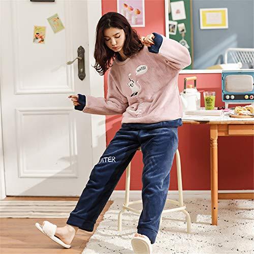 Pink Invierno Linda Cálida Pijamas Casa Patrón Leeqn Traje Casual Franela Bedgown Moda Servicio TWwqSnW7dO