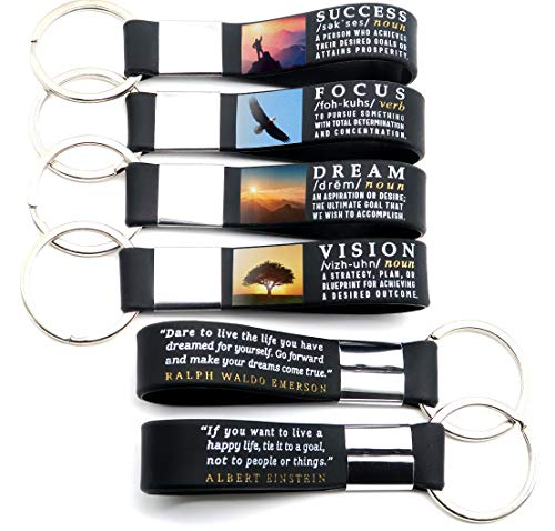 (12-pack) Motivational Quote Keychains - Success, Dream, Focus, Vision - Wholesale Bulk Pack of 1 Dozen Key Chains - Corporate Office Business Quote Gifts Idea for Students Coworkers Employees Clients - Employee Appreciation Gift