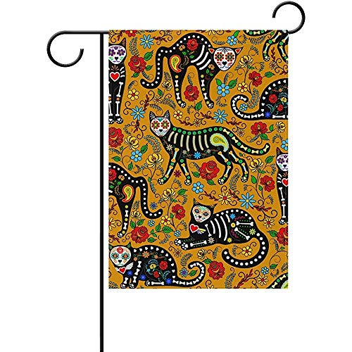 Sandayun88x Garden Flags Halloween Cats Hippie Floral Flowers Vintage Garden Flag House Banner 12 x 18 inch, Winter Happy New Year Decorative Flag for Party Yard Home Outdoor Decor -