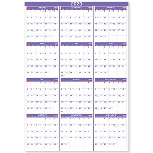 "2020 Yearly Wall Calendar - 2020 Yearly Full Wall Calendar with Thicker Paper, January 2020 - December 2020, Bonus Pocket, 34.3"" x 22.8"", XLarge, Vertical - Artfan"