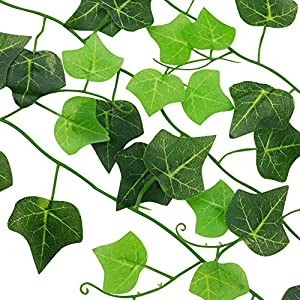 ElaDeco 94 ft 12 Pack Artificial Ivy Garland Vine,Plastic Ivy Vines Fake Ivy Garland for Wedding Party Decoration Garden Wall Greenery Decoration 4