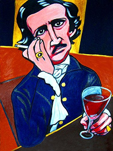 - EDGAR ALLAN POE PRINT POSTER The Raven Tell Tale Heart wine book portrait photo abstract goth art tales poems