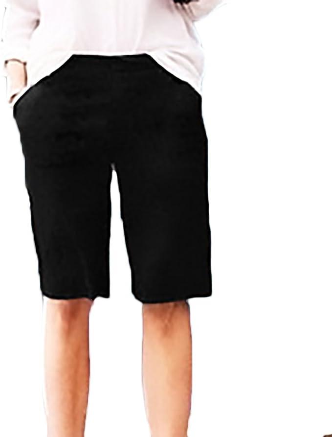 Bermudas Mujer Verano Moda Color Solido Casual Anchos Cintura Elastica Plus Size Pantalones Cortos Shorts Tallas Grandes Mujer Pantalones Cortos