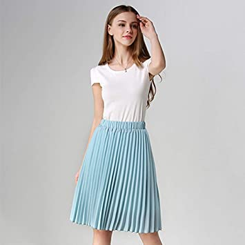 HEHEAB Falda,Azul Falda Plisada Moda Mujer Verano Coreano Cintura ...
