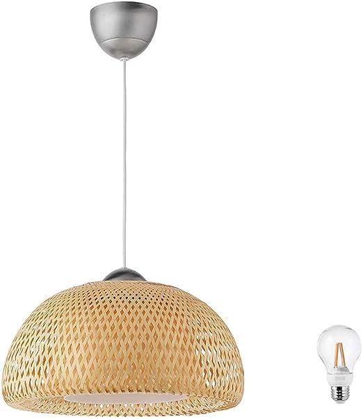 Amazon.com: IKEA BOJA Lámpara de techo de ratán de bambú con ...