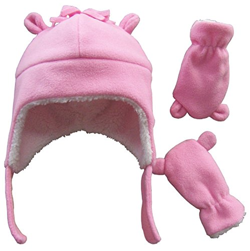 N'Ice Caps Little Girls and Baby Sherpa Lined Fleece Hat Mitten Set with Ears (6-18 Months, Pink Infant) - Kids Hat N Mitten