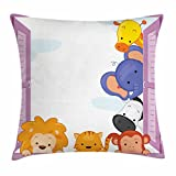 Ambesonne Zoo Throw Pillow Cushion Cover, Cute Colorful Animals Peeping at Pink Window Cartoon Frame Cat Monkey Lion Elephant, Decorative Square Accent Pillow Case, 36 X 36 inches, Multicolor