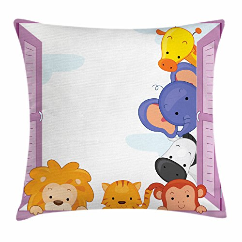Ambesonne Zoo Throw Pillow Cushion Cover, Cute Colorful Animals Peeping at Pink Window Cartoon Frame Cat Monkey Lion Elephant, Decorative Square Accent Pillow Case, 36 X 36 inches, Multicolor by Ambesonne (Image #3)