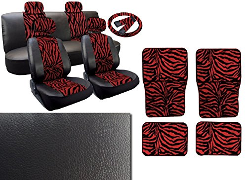 17 Piece Zebra Stripes Print Deluxe Leatherette Full Car Seat Cover Set Premium Synthetic Leather Double Stitched - 4pc Faux Fur Floor Mats - Full Interior - Plus FREE Steering Wheel Set (Black and Red Zebra Set)