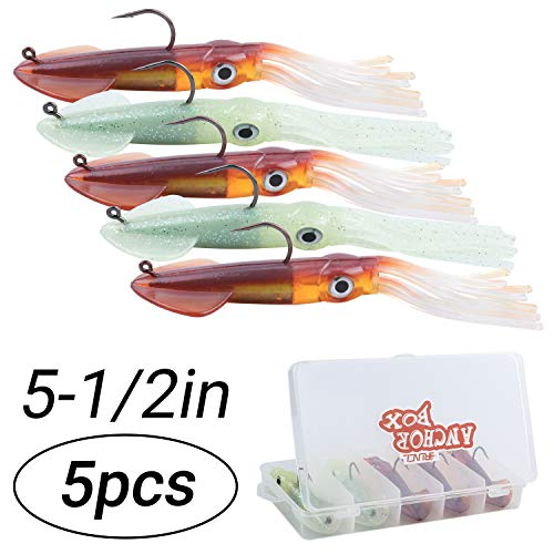 RUNCL Anchor Box - Squid Fishing Lures, Soft Lures 5-1/2in - Solid Body, Large 3D Eyes, Lifelike Wings, Waving Tentacles, Glow Colors - Saltwater & Freshwater Fishing (Pack of 5)