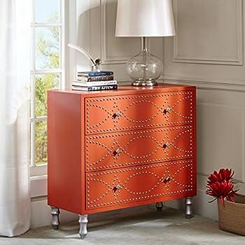 tangerine nail head accent chest orange