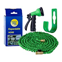 Basecamp Hose Expandable Garden Hose - Strongest Expanding Garden Watering Tube With All Brass Connectors, 8-pattern Sprayer Nozzle And High Pressure - Resistance Latex(25FT)