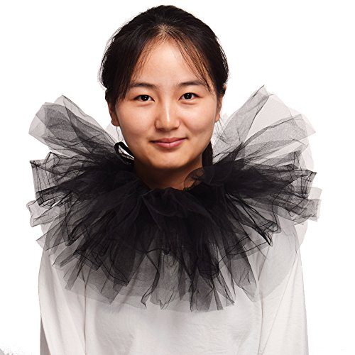 Blessume Retro Neck Ruff Ruffle Collar, Black, One size ()