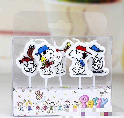 Astra Gourmet 5 Pieces/lot Snoopy Dog Decorative Birthday Cake Candles for Kids Birthday Party Favors Supplies Baby Shower (Supplies Birthday Party Snoopy)