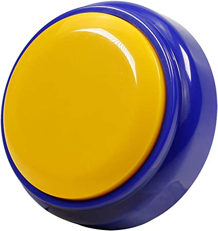 MakeSound Recordable Talking Button Answer Buzzers Record Your own 30 Second Message, (Batteries Included) (Blue and Yellow)