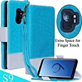 Galaxy S9 Wallet Case Leather Folio, Soft Slim Fit Inner Case, Wireless Charging, Folding Kickstand, Card Slot Holder - Mefon Magnetic Flip Wallet Cover Case for Samsung Galaxy S9 5.8'' - Blue Teal