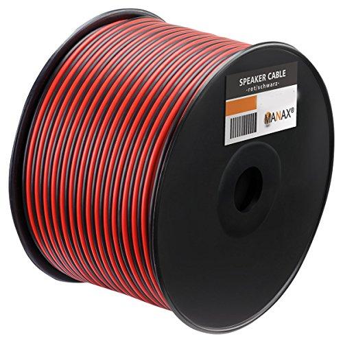 Manax SC2400RB-100 Luidsprekerkabel 2×4,00 mm² CCA (boxkabel/audiokabel), spoel 100 m, rood/zwart