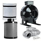 TopoLite 4'' Inline Fan Carbon Air Filter Ducting Combo for Grow Tent Ventilation Exhaust Kit and Hydroponic Growing System