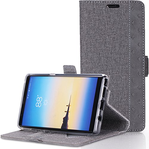 ProCase Galaxy Note 8 Wallet Case, Folio Folding Wallet Case Flip Cover Protective Case for Samsung Galaxy Note 8 2017 Release, with Card Holder Kickstand -Grey