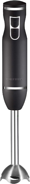 Chefman Immersion Stick Hand Blender Includes Stainless Steel Shaft & Blades, Powerful 300 Watt Ice Crushing 2-Speed Control One Hand Mixer, Soft Touch Grip - Black (Renewed)