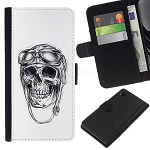 All Phone Most Case / Oferta Especial Cáscara Funda de cuero Monedero Cubierta de proteccion Caso / Wallet Case for Sony Xperia Z2 D6502 // Pilot Skull War Veteran Death White