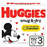 HUGGIES Snug & Dry Baby Diapers, Size 3 (fits 16-28 lbs.), 192 Count, Mega Colossal Pack (Packaging May Vary)