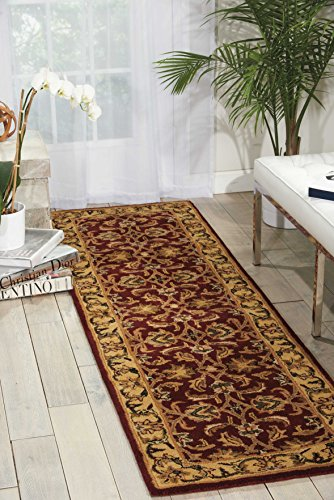 Nourison India House (IH17) Burgundy Runner Area Rug, 2-Feet 3-Inches by 7-Feet 6-Inches (2'3