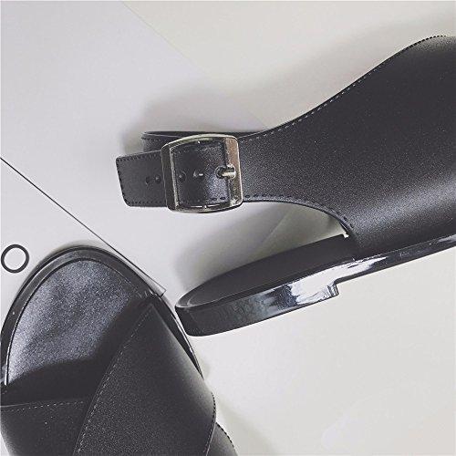 Negro de Damas EU Playa EU Verano Crossover Cross Shoes 35 Toe Sandalias YMFIE 39 de topen Toe con Antideslizante 65qd6U