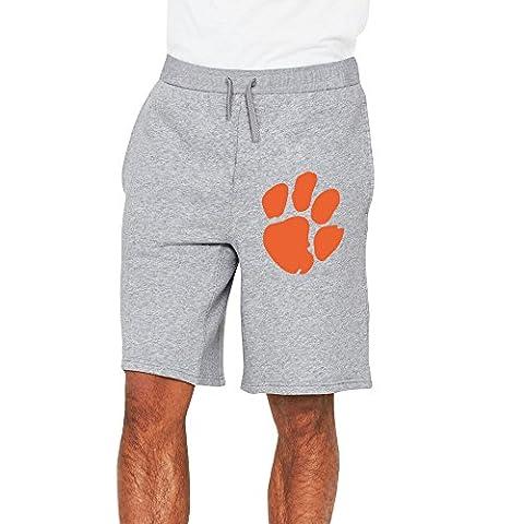 Men's Clemson Tigers Cotton Short Sweat Pants Ash US Size L (John Cena Pants Belt)